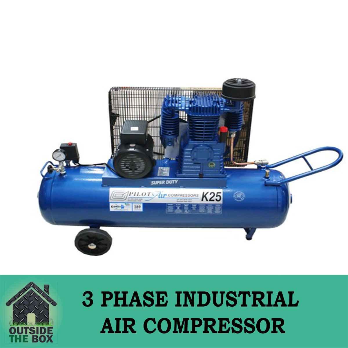Details about Pilot K25L18 100LItre Tank Capacity 4HP Motor 3 Phase  Industrial Air Compressor