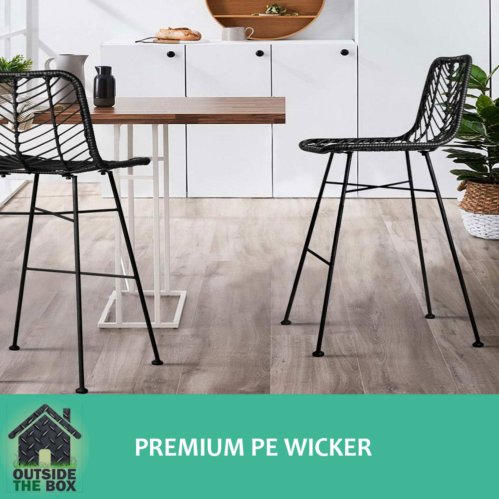 Set Of 2 Wicker Rattan Bar Stools Furniture Metal Frame